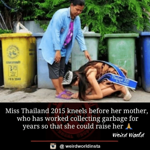 Memes, Weird, and Thailand: Miss Thailand 2015 kneels before her mother,  who has worked collecting garbage for  years so that she could raise her A  Weird Wodd  @ weirdworldinsta