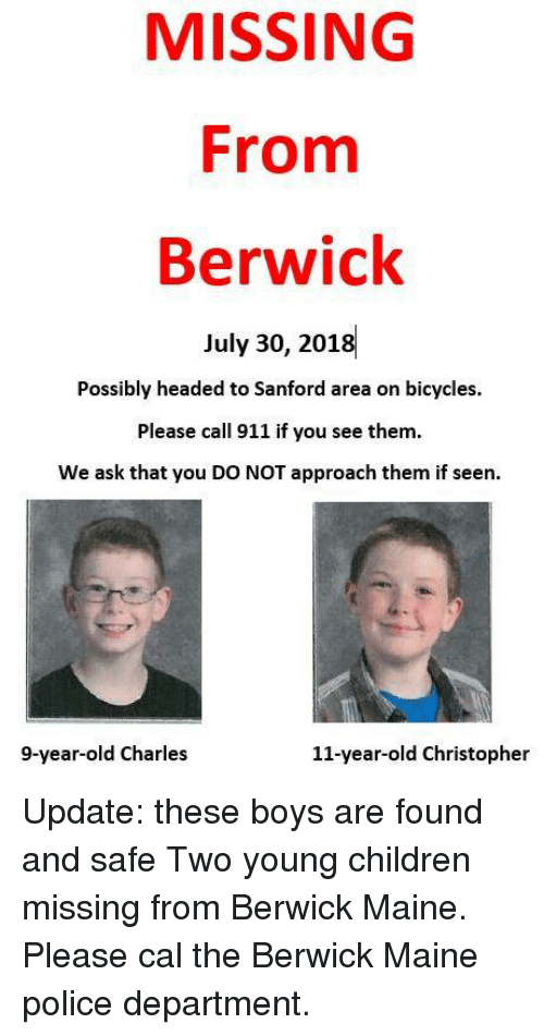 MISSING From Berwick July 30 2018 Possibly Headed to Sanford