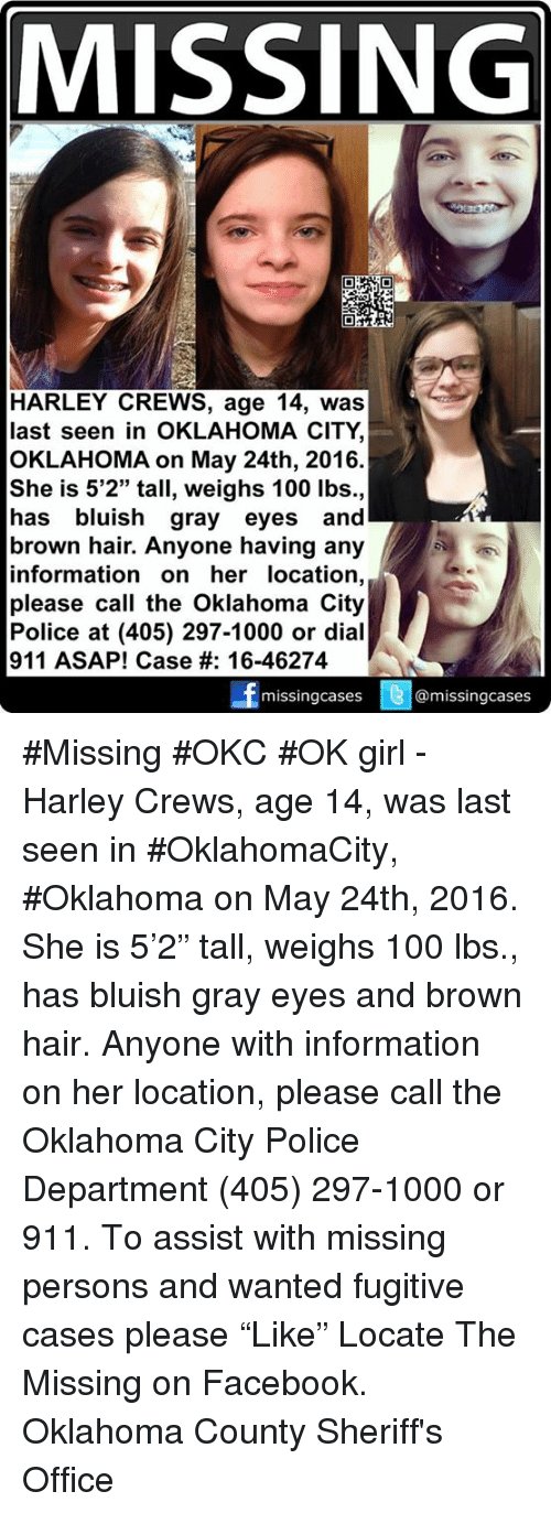 MISSING HARLEY CREWS Age 14 Was Last Seen in OKLAHOMA CITY