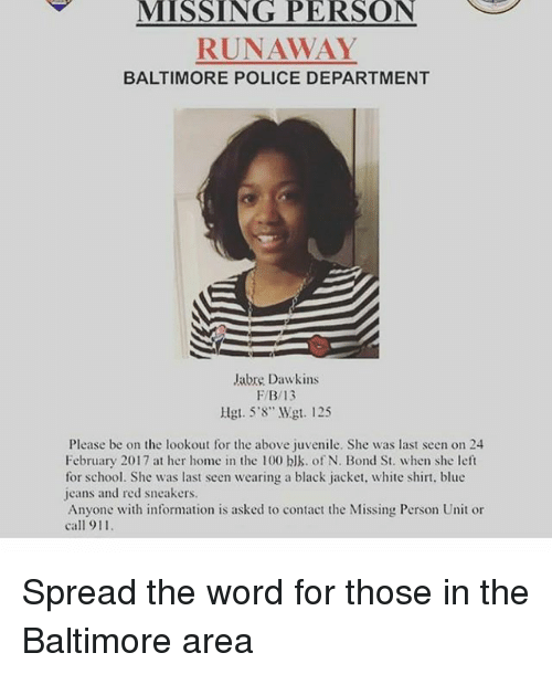 MISSING PERSON RUNAWAY BALTIMORE POLICE DEPARTMENT Jabre