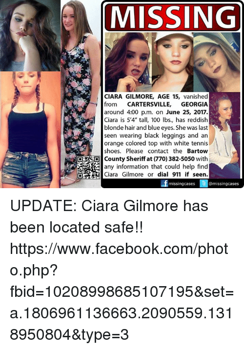 MISSING Rs CIARA GILMORE AGE 15 Vanished From CARTERSVILLE