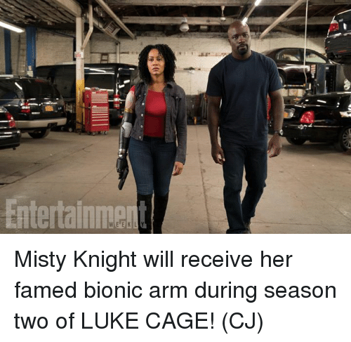 Memes, 🤖, and Her: Misty Knight will receive her famed bionic arm during season two of LUKE CAGE!  (CJ)