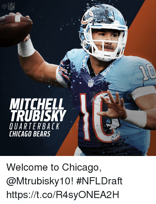 Mitchell Trubisky Uarter Back Chicago Bears Nfl Riddell Welcome To