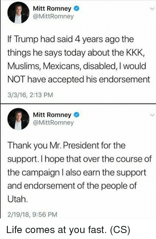 Mitt Romney if Trump Had Said 4 Years Ago the Things He Says