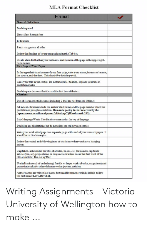 Mla Format Checklist Format General Guidelines Double Spaced