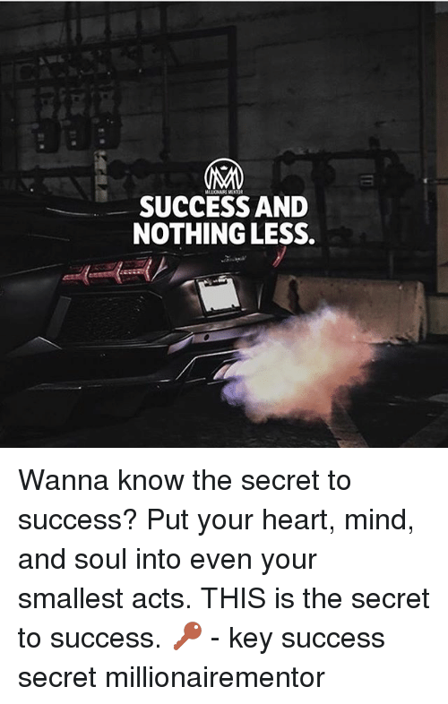 Memes, Heart, and Mind: MLONAIRE MENTOR  SUCCESS AND  NOTHING LESS Wanna know the secret to success? Put your heart, mind, and soul into even your smallest acts. THIS is the secret to success. 🔑 - key success secret millionairementor