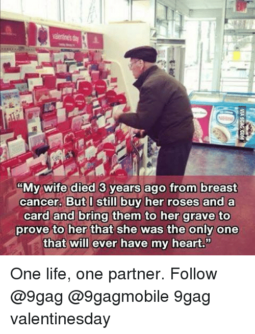 "Memes, Breast Cancer, and 🤖: MMy wife died 3 years ago from breast  cancer. But I still buy her roses and a  card and bring them to her grave to  prove to her that she was the only one  that will ever have my heart."" One life, one partner. Follow @9gag @9gagmobile 9gag valentinesday"