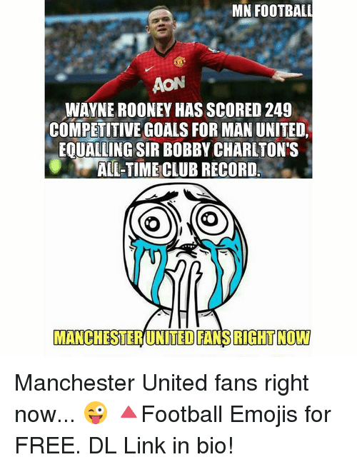 Mn Football Aon Wayne Rooney Has Scored 249 Competitive Goals For Man United Eoualling Sir Bobby Charlton S All Time Club Record Manchester United Fans Right Now Manchester United Fans Right Now Football