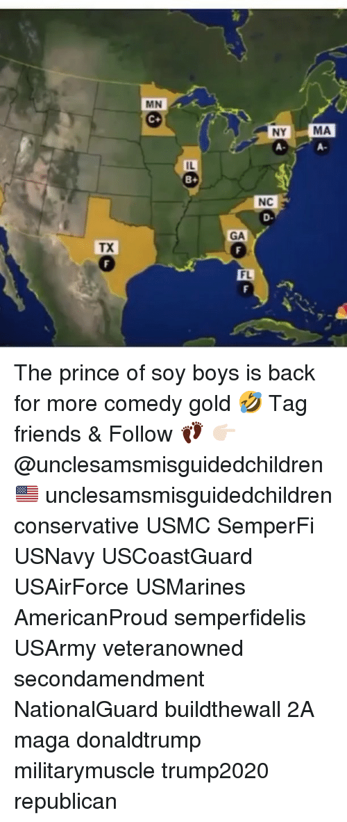 Friends, Memes, and Prince: MN  NY  A-  MA  A-  IL  NC  D-  GA  TX  FL The prince of soy boys is back for more comedy gold 🤣 Tag friends & Follow 👣 👉🏻 @unclesamsmisguidedchildren 🇺🇸 unclesamsmisguidedchildren conservative USMC SemperFi USNavy USCoastGuard USAirForce USMarines AmericanProud semperfidelis USArmy veteranowned secondamendment NationalGuard buildthewall 2A maga donaldtrump militarymuscle trump2020 republican