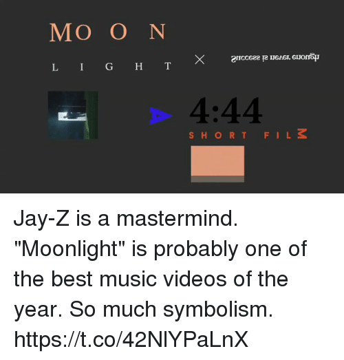 "Blackpeopletwitter, Jay, and Jay Z: MO O N  L I G H T  4:44  SHORTFILS Jay-Z is a mastermind. ""Moonlight"" is probably one of the best music videos of the year. So much symbolism. https://t.co/42NlYPaLnX"