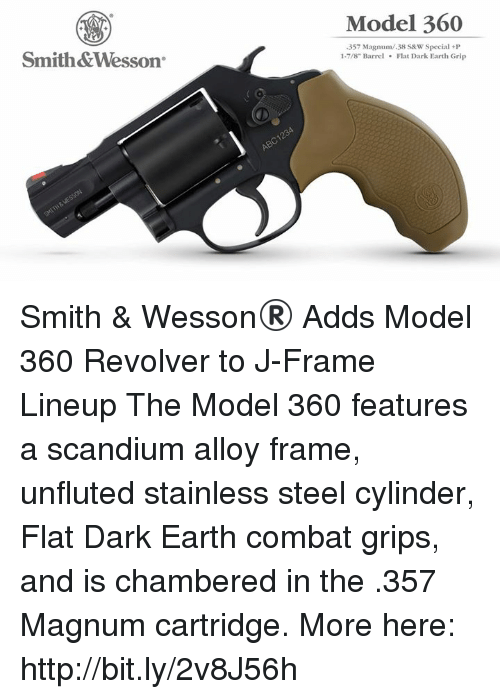 Model 360 Smith&Wesson 357 Magnum38 S&W Special+P 1-78 Barrel Flat