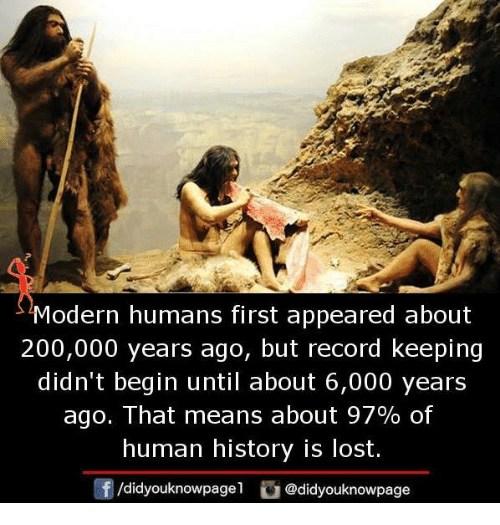 Bailey Jay, Memes, and Lost: Modern humans first appeared about  200,000 years ago, but record keeping  didn't begin until about 6,000 years  ago. That means about 97% of  human history is lost.  /didyouknowpagel  Cu  @didyouknowpage