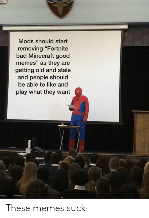 """Bad, Memes, and Minecraft: Mods should start  removing """"Fortnite  bad Minecraft good  memes"""" as they are  getting old and stale  and people should  be able to like and  play what they want These memes suck"""
