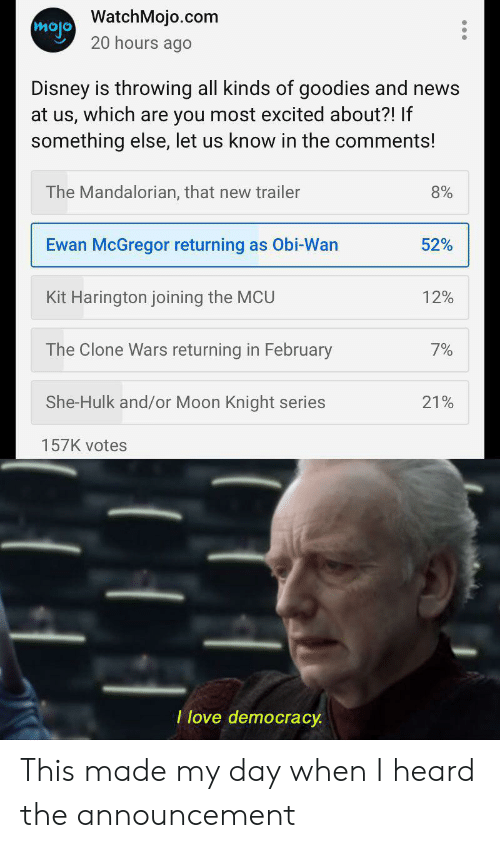 Disney, Love, and News: mojo WatchMojo.com  20 hours ago  Disney is throwing all kinds of goodies and news  at us, which are you most excited about?! If  something else, let us know in the comments!  The Mandalorian, that new trailer  8%  Ewan McGregor returning as Obi-Wan  52%  12%  Kit Harington joining the MCU  The Clone Wars returning in February  7%  She-Hulk and/or Moon Knight series  21%  157K votes  I love democracy This made my day when I heard the announcement