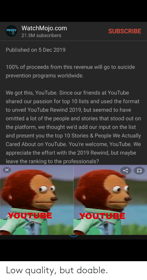 Friends, Reddit, and youtube.com: mojo WatchMojo.com  SUBSCRIBE  21.5M subscribers  Published on 5 Dec 2019  100% of proceeds from this revenue will go to suicide  prevention programs worldwide.  We got this, YouTube. Since our friends at YouTube  shared our passion for top 10 lists and used the format  to unveil YouTube Rewind 2019, but seemed to have  omitted a lot of the people and stories that stood out on  the platform, we thought we'd add our input on the list  and present you the top 10 Stories & People We Actually  Cared About on YouTube. You're welcome, YouTube. We  appreciate the effort with the 2019 Rewind, but maybe  leave the ranking to the professionals?  YOUTUBE  YOUTUBE Low quality, but doable.