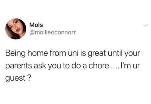 Parents, Home, and Ask: Mols  @mollieoconnorr  Being home from uni is great until your  I'm ur  parents ask you to do a chore.  guest?