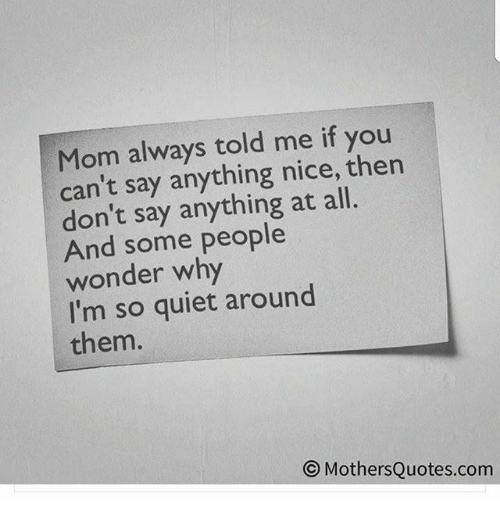 Mom Always Told Me If You Cant Say Anything Nice Then Dont Say