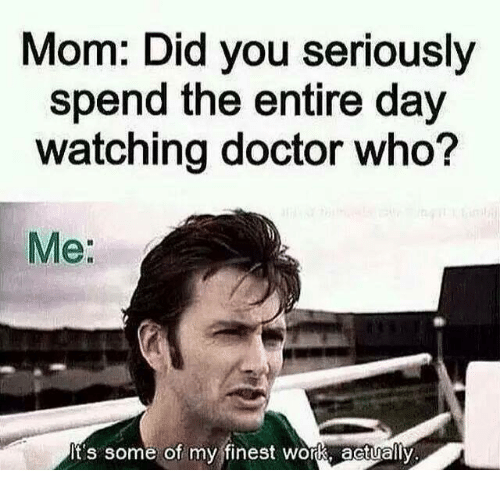 Doctor, Memes, and Moms: Mom: Did you seriously  spend the entire day  watching doctor who?  Me:  It's some of my finest work, actually
