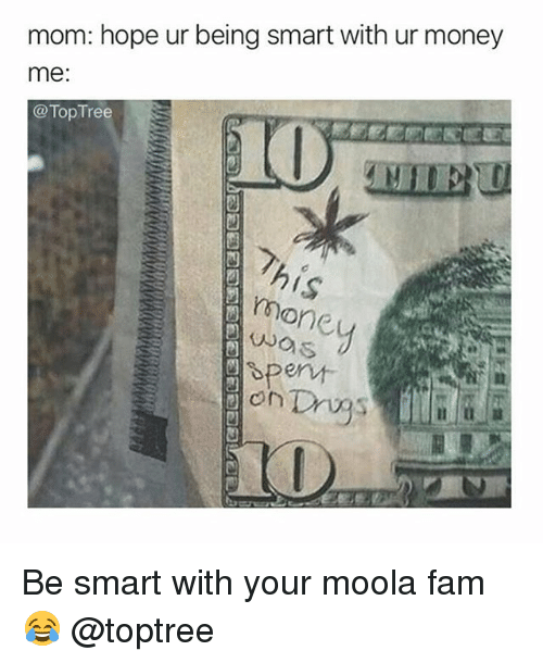 Fam, Money, and Weed: mom: hope ur being smart with ur money  me:  @Top Tree  凹  mone  os  芭  凹  凹 Be smart with your moola fam 😂 @toptree