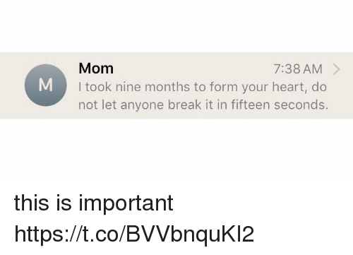 Break, Heart, and Girl Memes: Mom  I took nine months to form your heart, do  not let anyone break it in fifteen seconds  7:38 AM > this is important https://t.co/BVVbnquKI2