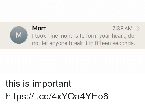 Break, Heart, and Girl Memes: Mom  I took nine months to form your heart, do  not let anyone break it in fifteen seconds  7:38 AM > this is important https://t.co/4xYOa4YHo6