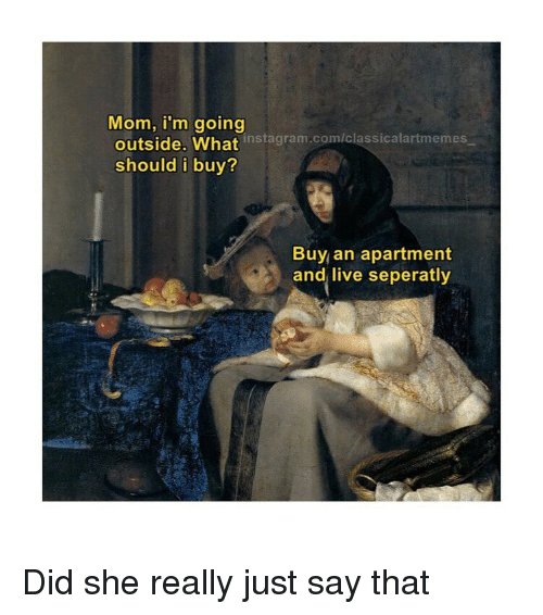 Mom I'm Going Outside What Instagramcomclassicalartmemes Should I