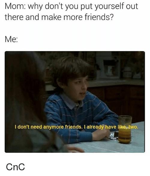 Friends, Memes, and Mom: Mom: why don't you put yourself out  there and make more friends?  Me  I don't need anymore friends. I already have like two. CnC