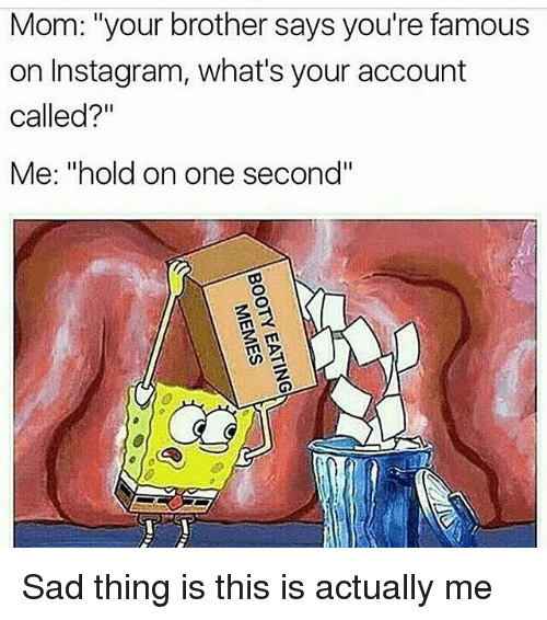 "Memes, 🤖, and Brothers: Mom: ""your brother says you're famous  on Instagram, what's your account  called?""  Me: ""hold on one second"" Sad thing is this is actually me"