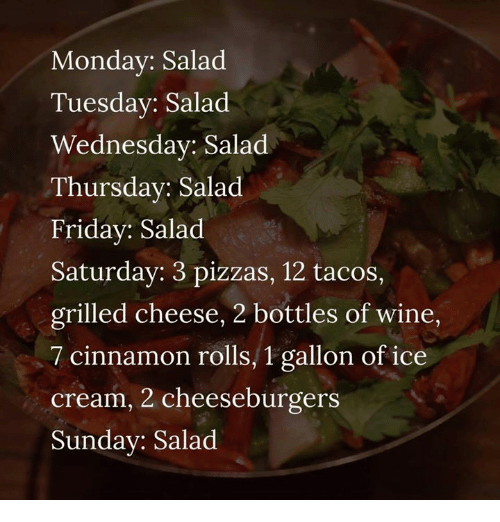 Friday, Memes, and Wine: Mondav: Salad  Tuesday: Salad  Wednesday: Salad  Thursday: Salad  Friday: Salad  Saturday: 3 pizzas, 12 tacos,  grilled cheese, 2 bottles of wine,  7 cinnamon rolls, 1 gallon of ice  cream, 2 cheeseburgers  Sunday: Salad