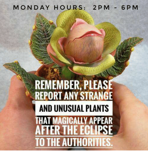 Memes, Eclipse, and Monday: MONDAY HOURS: 2 P M 6PM  REMEMBER, PLEAS  REPORT ANY STRANGE  AND UNUSUAL PLANTS  THAT MAGICALLY APPEAR  AFTER THE ECLIPSE  TO THE AUTHORITIES