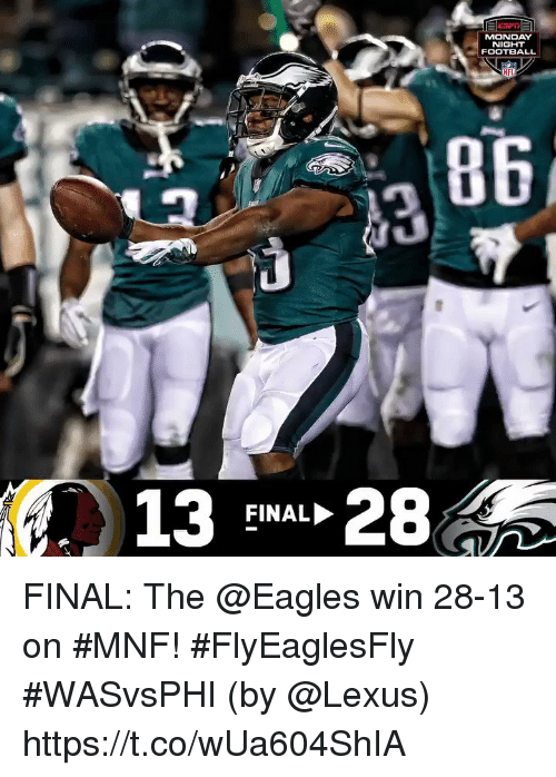 me.me: MONDAY  NIGHT  FOOTBALL  NF  13 28  FINAL FINAL: The @Eagles win 28-13 on #MNF! #FlyEaglesFly #WASvsPHI  (by @Lexus) https://t.co/wUa604ShIA
