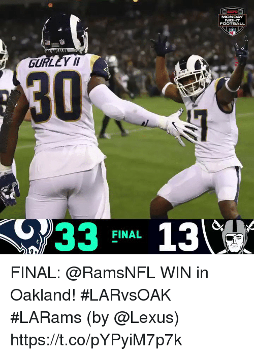 Football, Lexus, and Memes: MONDAY  NIGHT  FOOTBALL  NFL  GURLEY II  30  733 FINAL 13 FINAL: @RamsNFL WIN in Oakland! #LARvsOAK  #LARams  (by @Lexus) https://t.co/pYPyiM7p7k