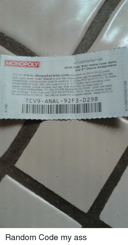 MONOPOLY A110067020921190 OP PLAY WIN! Online Code Game and