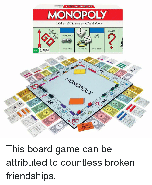 Monopoly Chance Park Place Pce 400 7500 To Go This Board Game Can