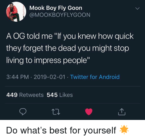"""Android, Twitter, and Best: Mook Boy Fly Goon  @MOOKBOYFLYGOON  A OG told me """"If you knew how quick  they forget the dead you might stop  living to impress people""""  3:44 PM 2019-02-01 Twitter for Android  449 Retweets 545 Likes Do what's best for yourself 🌟"""