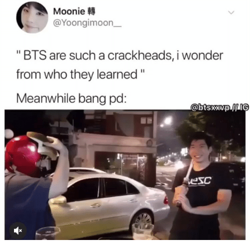 "Bts, Wonder, and Who: Moonie  @Yoongimoon  ""BTS are such a crackheads, i wonder  from who they learned""  Meanwhile bang pd:  @btsxxvpIG  vesc"