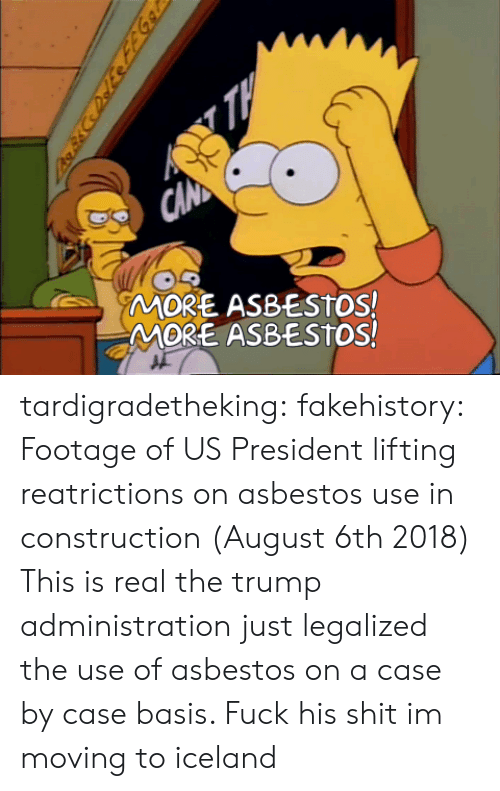 Shit, Tumblr, and Blog: MORE ASBESTOS!  MORE ASBESTOS! tardigradetheking:  fakehistory: Footage of US President lifting reatrictions on asbestos use in construction (August 6th 2018) This is real the trump administration just legalized the use of asbestos on a case by case basis.                                         Fuck his shit im moving to iceland