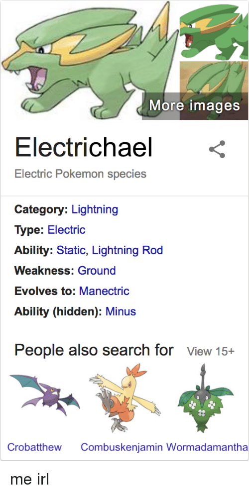 More Images Electrichael < Electric Pokemon Species Category