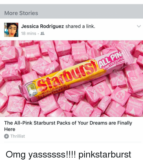 more stories jessica rodriguez shared a link e 4 18 15838228 meme all pink,all free download funny memes,Pink Starburst Meme