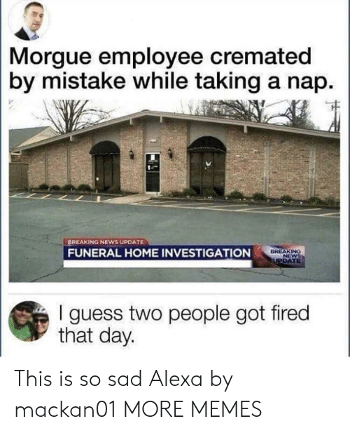Dank, Memes, and News: Morgue employee cremated  by mistake while taking a nap.  BREAKING NEWS UPDATE  FUNERAL HOME INVESTIGATION  DREAKING  I guess two people got fired  that day. This is so sad Alexa by mackan01 MORE MEMES