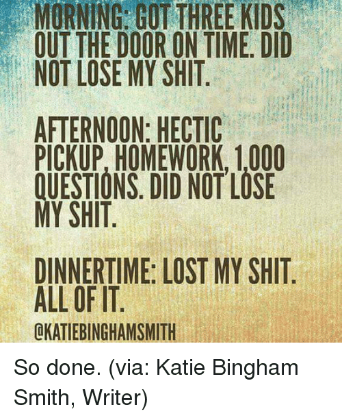 Dank, Homework, and 🤖: MORNING GOT THREE KIDS  OUT THE DOOR ON TIME. DID  NOT LOSE MY SHIT  AFTERNOON: HECTIC  PICKUP, HOMEWORK, 1,000  DID NOT LOSE  MY SHIT  DINNERTIME: LOST MY SHIT  ALL OF IT  LKATIEBINGHAMSMITH So done. (via: Katie Bingham Smith, Writer)