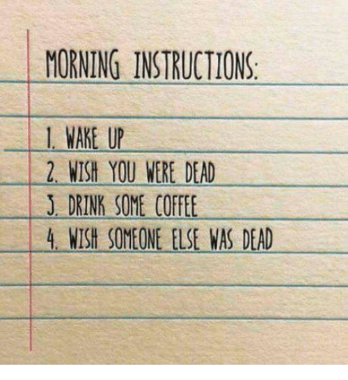 Morning Instructions 1 Wake U 2 Wish You Were Dead J Drink Some