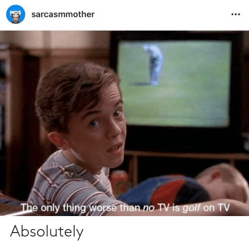 Memes, Golf, and 🤖: MOS  sarcasmmother  e only thing worse than.no TV is golf on TV Absolutely