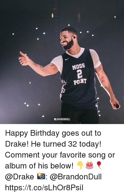 Birthday, Drake, and Happy Birthday: MOSS  POINT  BRANDON DULL Happy Birthday goes out to Drake! He turned 32 today! Comment your favorite song or album of his below! 👇🎂🎈 @Drake 📸: @BrandonDull https://t.co/sLhOr8PsiI