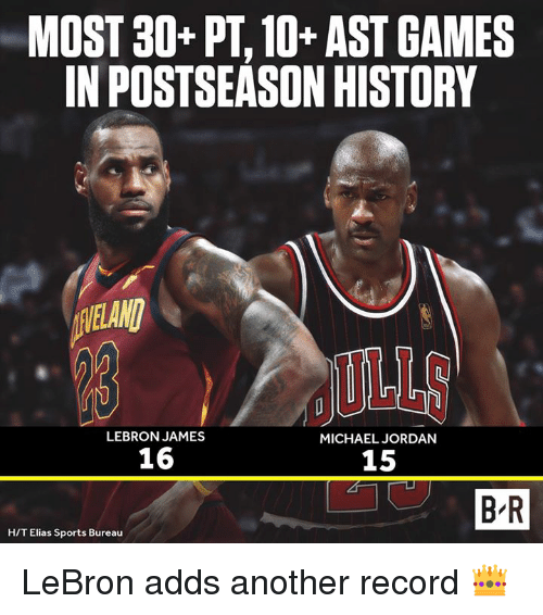 LeBron James, Michael Jordan, and Sports: MOST 30+ PT, 10+ AST GAMES  IN POSTSEASON HISTORY  VELANI  LEBRON JAMES  MICHAEL JORDAN  16  15  B R  H/T Elias Sports Bureau LeBron adds another record 👑