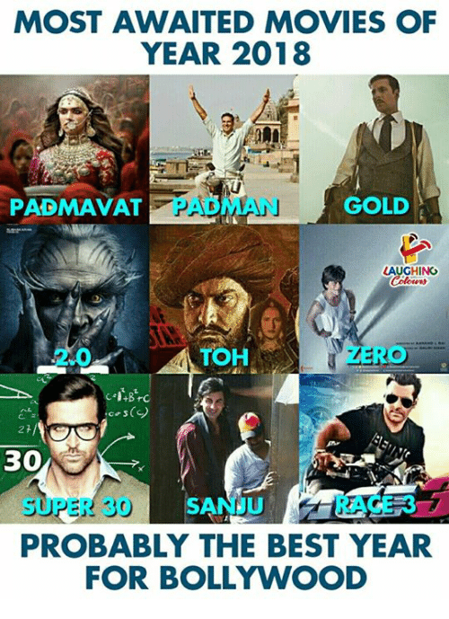 Movies, Best, and Bollywood: MOST AWAITED MOVIES OF  YEAR 2018  PADMAVAT  PADMAN  GOLD  LAUGHING  2.0  TOH  cos()  30  SUPER 30 SANJRACE 37  PROBABLY THE BEST YEAR  FOR BOLLYWOOD