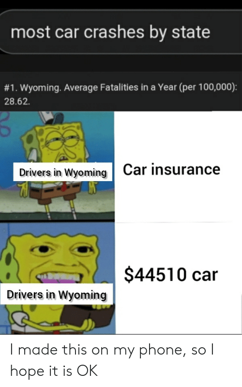 Most Car Crashes by State #1 Wyoming Average Fatalities in a