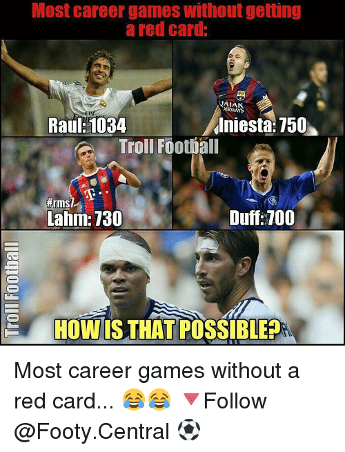 Memes, Duff, and 🤖: Most career games Without getting  a red card:  YAIAK  AIRWAYS  Iniesta: 150  Raul: 1034  Troll Football  thrmST  Duff 100  Lahm: 130  HOW IS THAT POSSIBLE? Most career games without a red card... 😂😂 🔻Follow @Footy.Central ⚽️