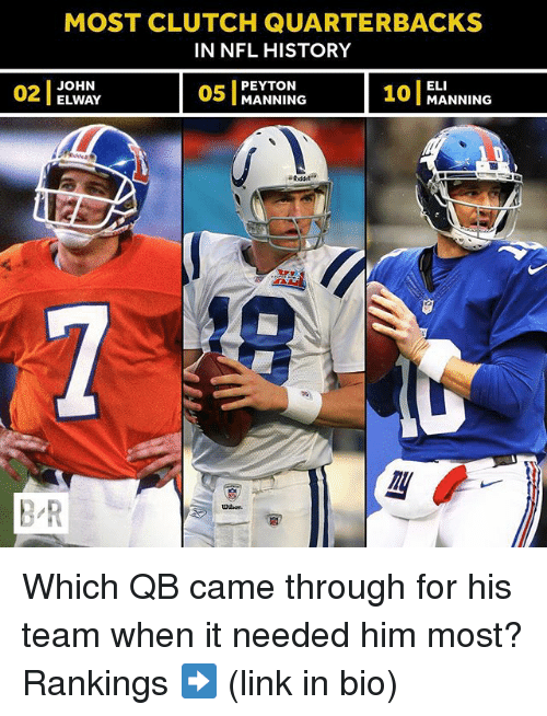 Nfl, Sports, and History: MOST CLUTCH QUARTERBACKS  IN NFL HISTORY  OWA  05 MANNING 10 MANNING  ELI  101 MANNING  02  2JOHN  PEYTON  ELWAY  B-R  UH on Which QB came through for his team when it needed him most? Rankings ➡️ (link in bio)