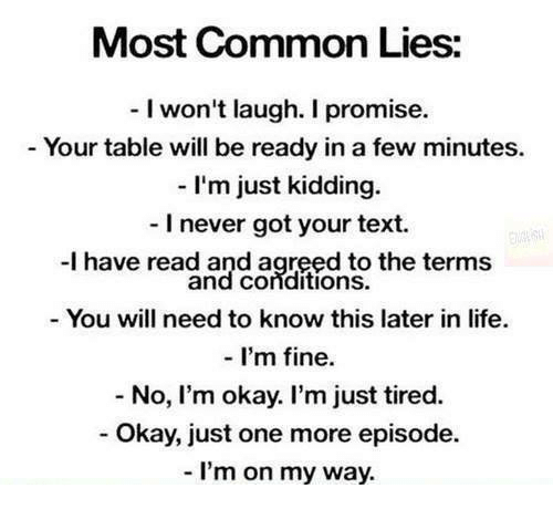 Most Common Lies I Won't Laugh I Promise Your Table Will Be